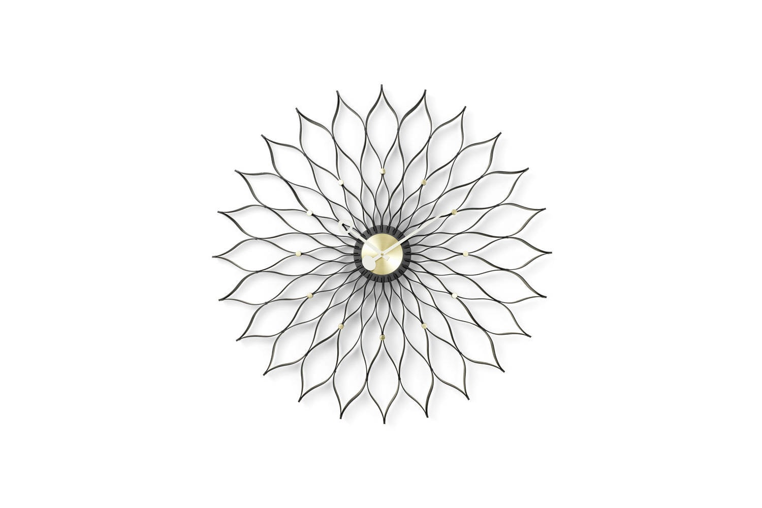 Sunflower Clock - Black Ash/Brass by George Nelson for Vitra