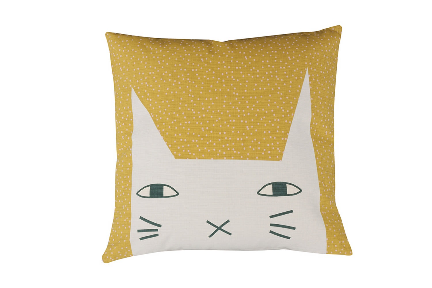 Cat Ears Cushion - Mustard/Duck Egg by Donna Wilson