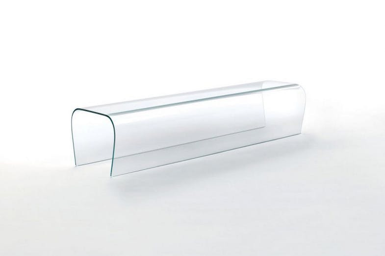 Bent Glass Bench - Bent Glass Stool by Naoto Fukasawa for Glas Italia