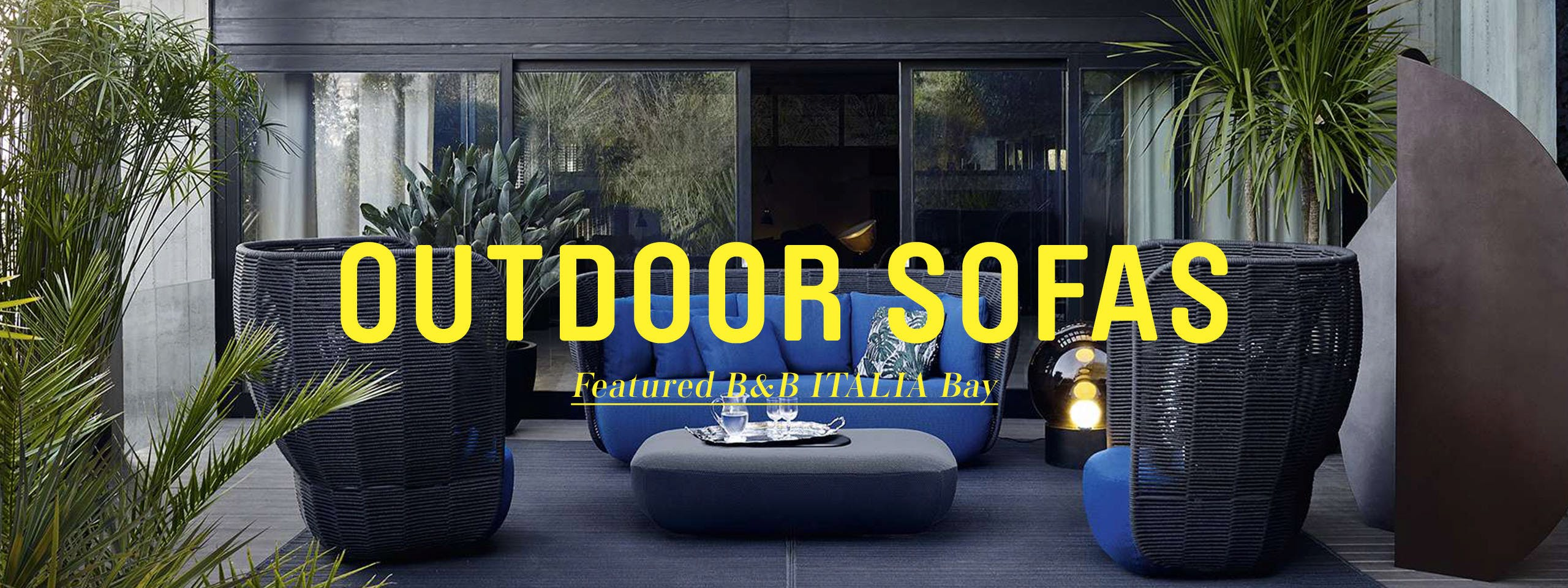 Take a seat in your yard with a sofa from our outdoor furniture range