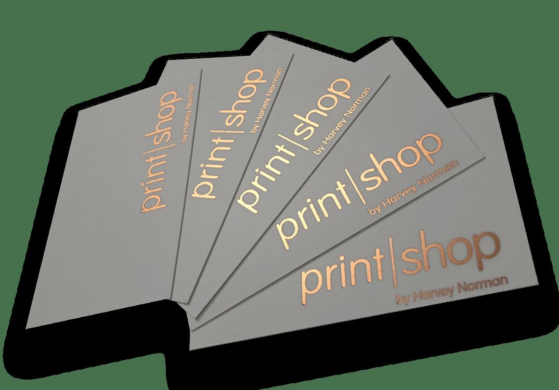 Home printshop by harvey norman premium foil finishing premium velvet celloglaze design services business cards document printing reheart Images