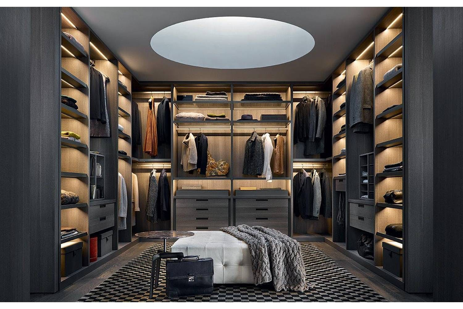 walk and mirrored of combination island drawers the wardrobe in middle leather dark closet with projects walking wood from made chest