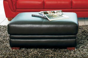 Demi Leather Ottoman by Morgan Furniture