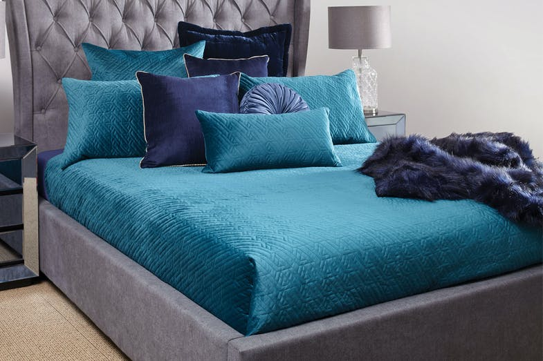 Brooklyn Velvet Teal Duvet Cover Set by Central Thread
