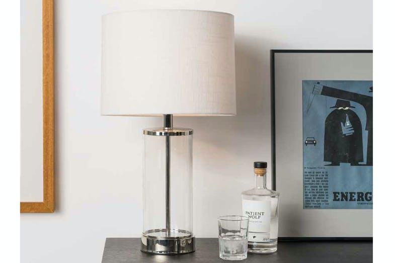 Sloane Glass and Chrome Table Lamp by Mayfield