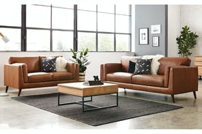 Maia 2 Piece Leather Lounge Suite