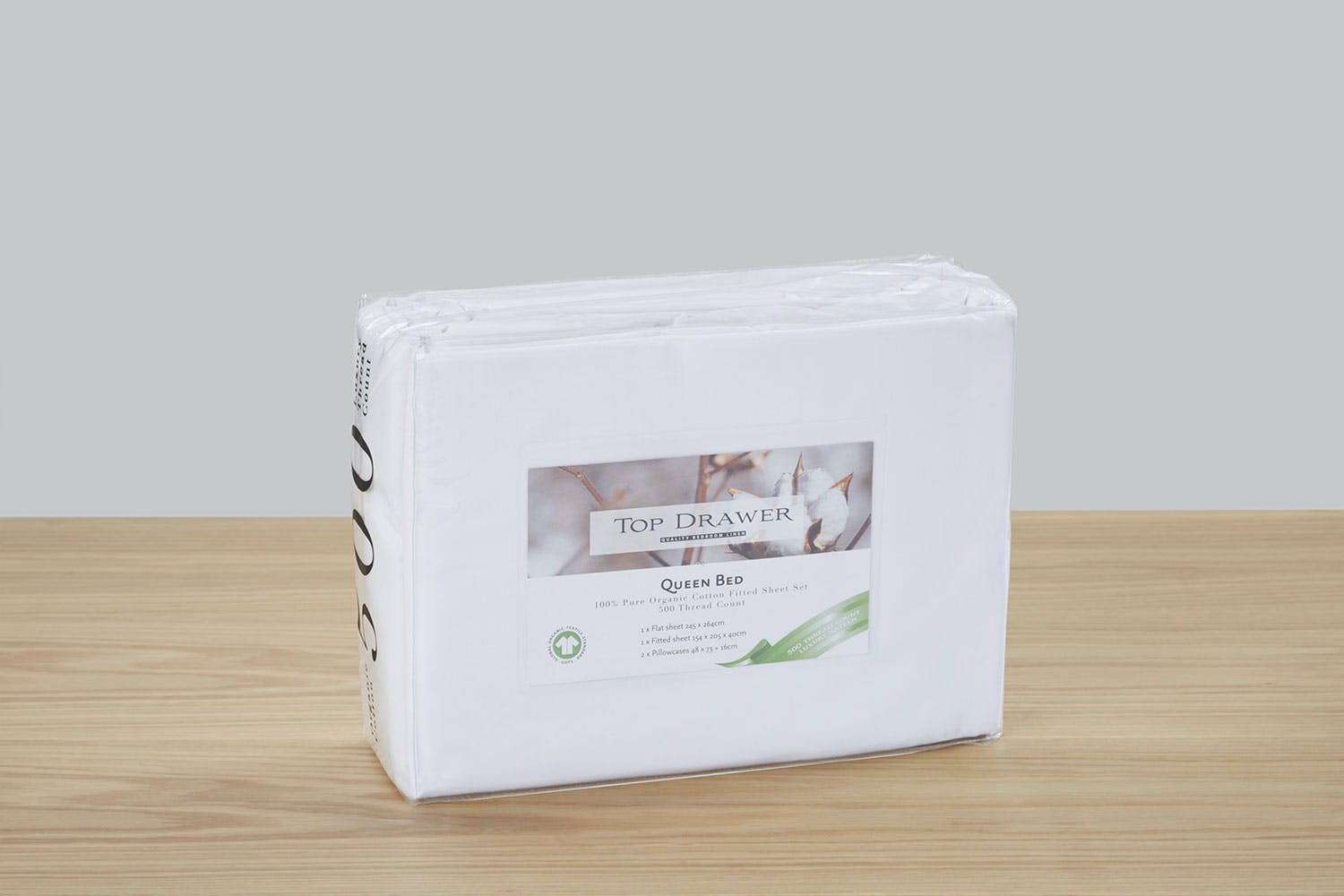 500TC White Organic Cotton Sheet Set by Top Drawer