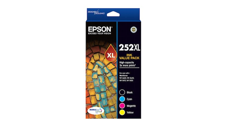 Epson 252XL High Capacity DURABrite Ultra Ink Cartridge - Value Pack