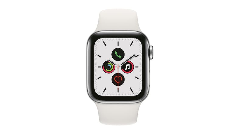 Apple Watch Series 5 (GPS+Cellular) 44mm Silver Stainless Steel + White Sport Band