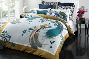 Exotic Birds Gold Duvet Cover Set by Florence Broadhurst