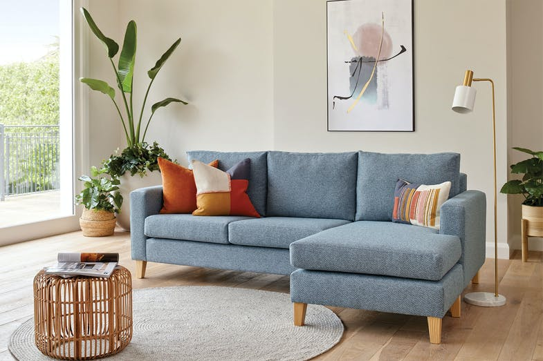 Harper 3 Seater Fabric Sofa with Chaise by Furniture Haven