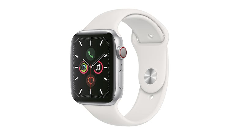Apple Watch Series 5 (GPS+Cellular) 44mm Silver + White Sport Band
