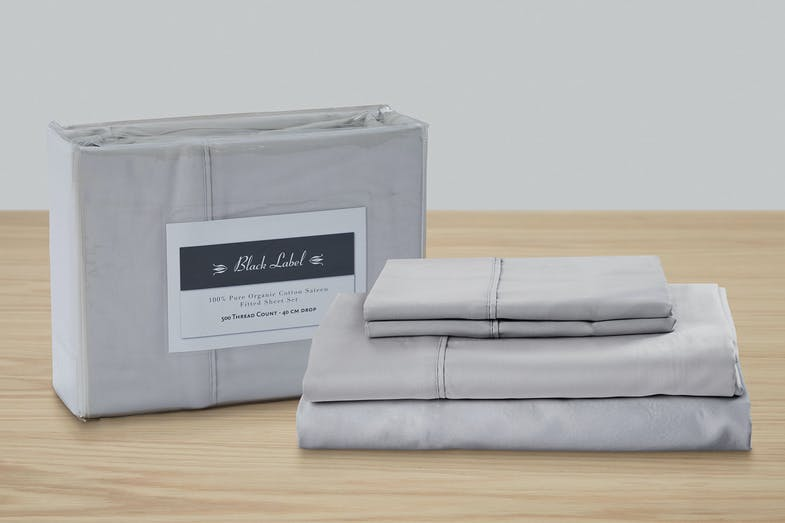 Black Label 500TC Organic Silver Cotton Sheet Set by Top Drawer