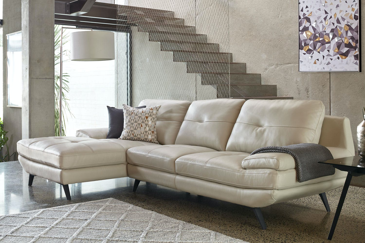 Vitali 3 Piece Leather Sofa With Chaise