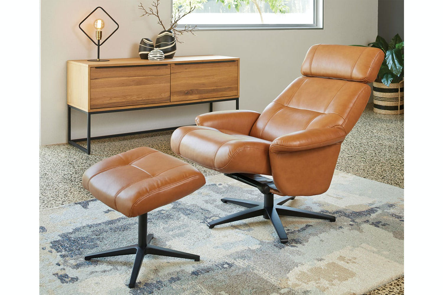 Henri Leather Recliner Chair and Footstool by Debonaire Furniture