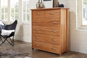 Cassidy Oak 6 Drawer Tallboy by Ezirest Furniture