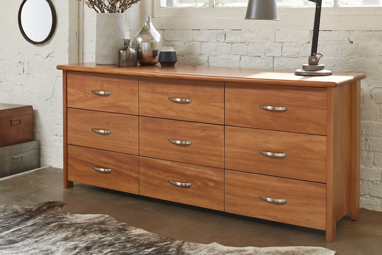 Cassidy Oak 9 Drawer Lowboy by Ezirest Furniture