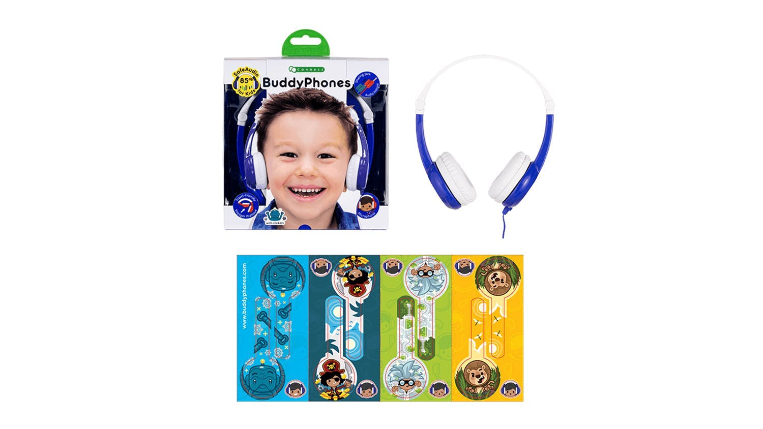 BuddyPhones Connect Kids On-Ear Headphones -Blue
