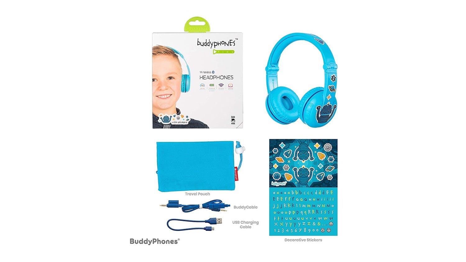 BuddyPhones Play Kids On-Ear Headphones - Glacier Blue