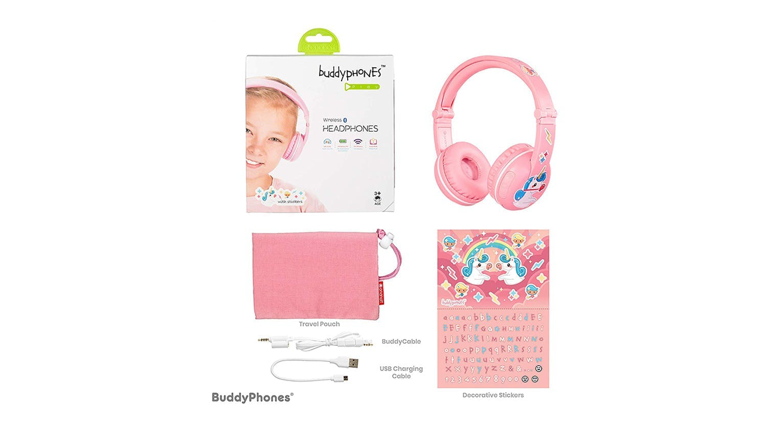 BuddyPhones Play Kids On-Ear Headphones - Sakura Pink