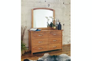 Cassidy Oak Lowboy with Mirror by Ezirest Furniture