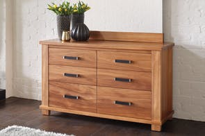 Huntsman Oak 6 Drawer Lowboy by Ezirest Furniture