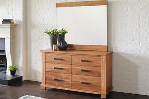 Huntsman Oak Dresser and Mirror by Ezirest Furniture