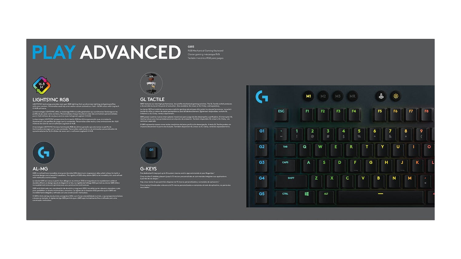Logitech G815 LIGHTSYNC RGB Mechanical Gaming Keyboard - GL Tactile