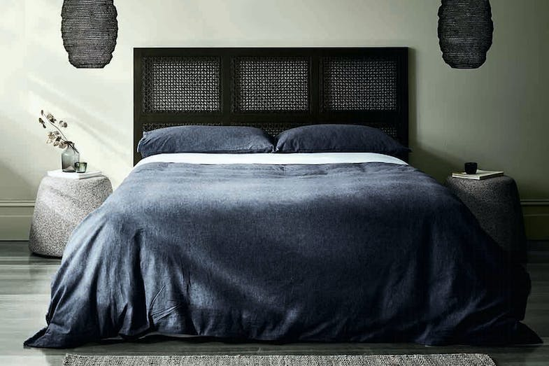 Chambray Fringe Ink Duvet Cover by Aura