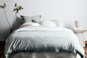 Chambray Fringe Limestone Duvet Cover by Aura
