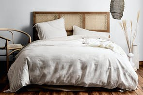 Chambray Stripe Mink Duvet Cover by Aura
