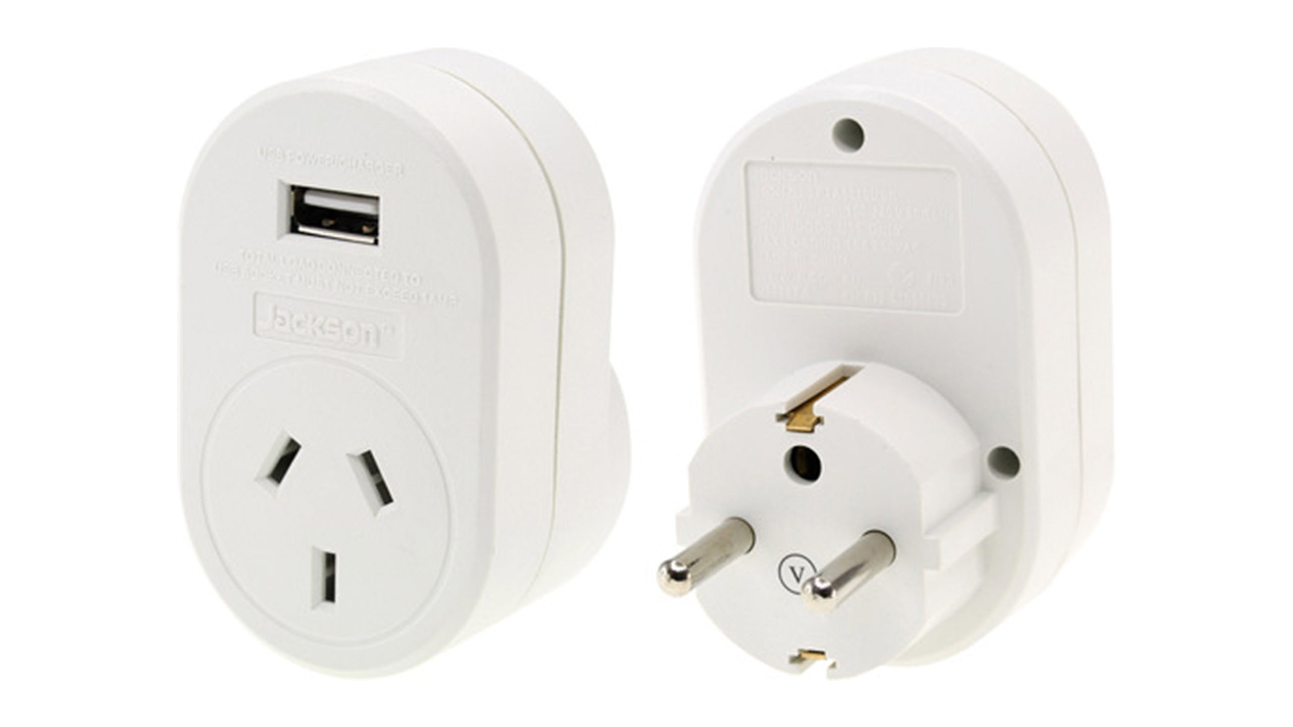 Jackson Outbound Travel Adapter with USB Charging Outlet For Europe