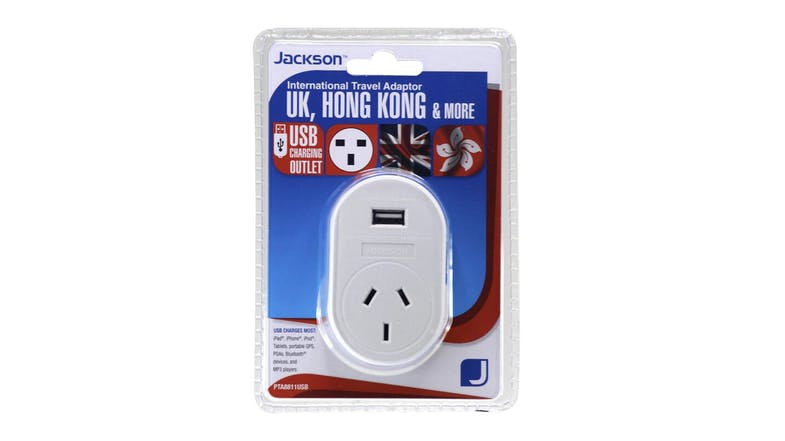 Jackson Outbound Travel Adapter with USB Charging Outlet For UK
