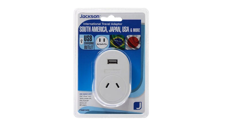 Jackson Outbound Travel Adapter with USB Charging Outlet For USA - 2-Pin Style