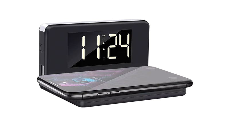 In Touch Alarm Clock with Wireless Charger - Black