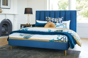 Waterfall Queen Bed Frame by Nero Furniture - Blue