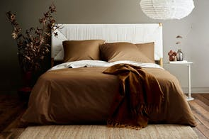 Vintage Organic Cotton Tobacco Duvet Cover by Aura