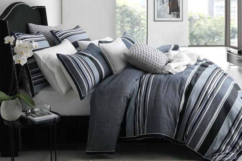 Pierre Navy Duvet Cover Set by Private Collection