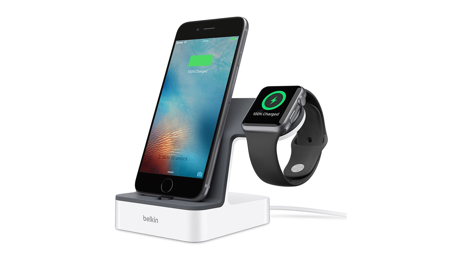 Belkin Powerhouse Charge Dock for Apple Watch + iPhone – White