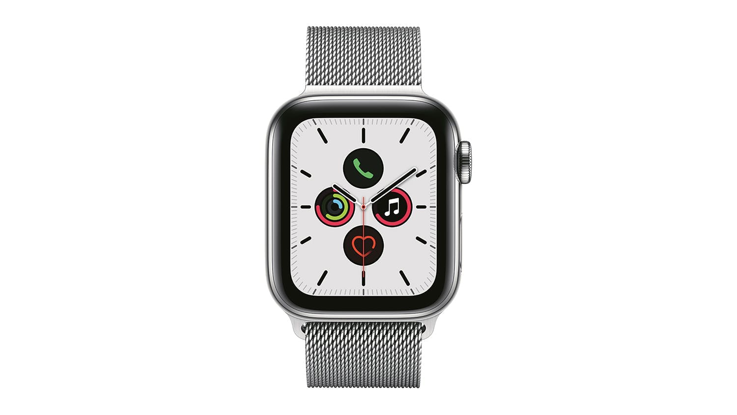 Apple Watch Series 5 (GPS+Cellular) 44mm Silver Stainless Steel + Silver Milanese Loop