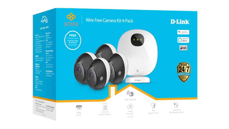 D-Link DCS-2804KT OMNA Wire-Free Indoor/Outdoor Camera Kit - 4 Pack
