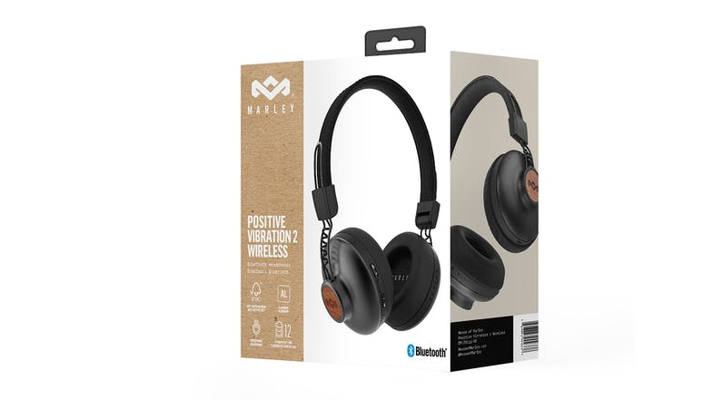 Marley Positive Vibration 2 Wireless On-Ear Headphones - Signature Black