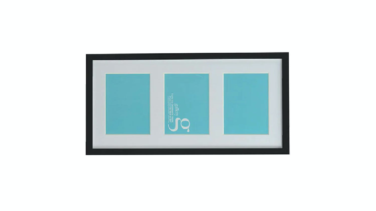 UR1 Gallery 10x20 Photo Frame with 3 5x7 Openings - Black