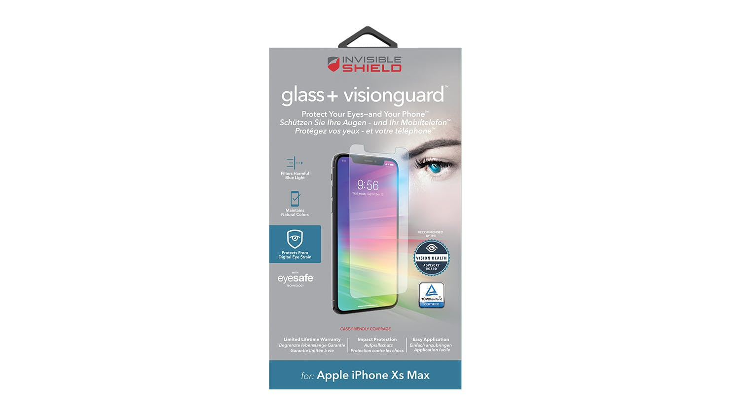Zagg Invisibleshield Glass+ VisionGuard Screen Protector for iPhone XS Max