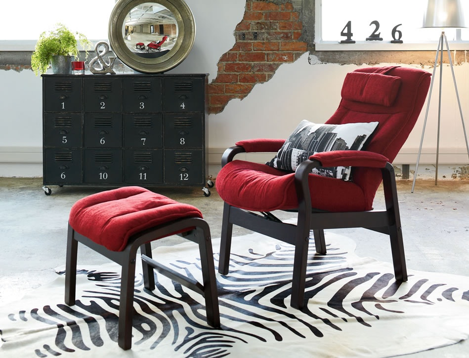 Sofia Fabric Chair and Footstool by IMG