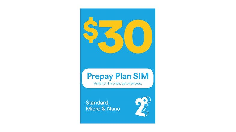 2degrees $30 Monthly Prepay Plan Sim