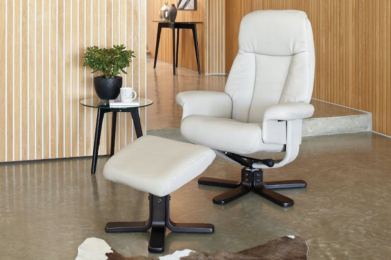 Sola Leather Chair and Footstool by Debonaire Furniture - Cloud
