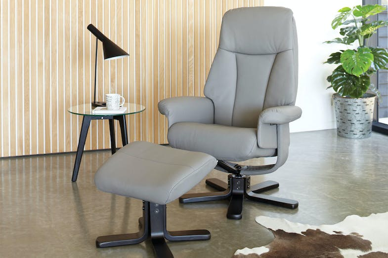 Sola Leather Chair and Footstool by Debonaire Furniture - Slate Grey