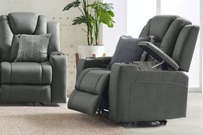 White Haven Fabric Electric Recliner Chair