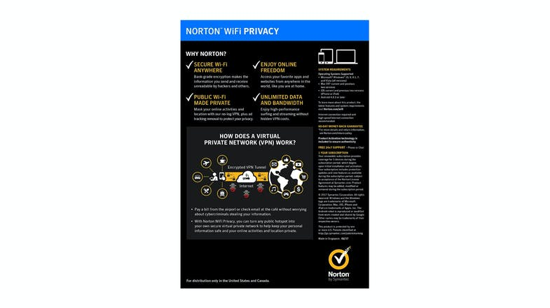 Norton Wi-Fi Privacy 1.0 - 1 User 5 Devices 12 Months